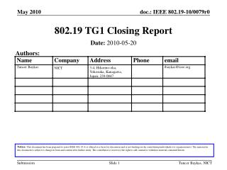 802.19 TG1 Closing Report