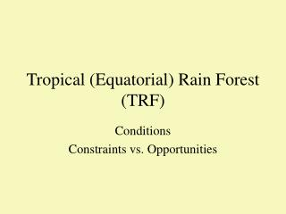 Tropical (Equatorial) Rain Forest (TRF)