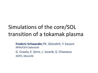 Simulations of the core/SOL transition of a tokamak plasma