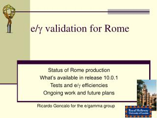 e/  validation for Rome