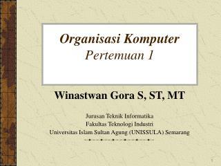 Organisasi Komputer Pertemuan 1