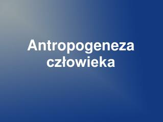 Antropogeneza człowieka