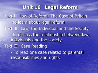 Unit 16   Legal Reform