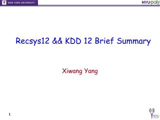 Recsys12 && KDD 12 Brief Summary