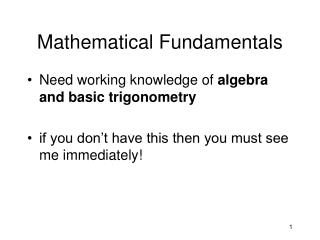 Mathematical Fundamentals