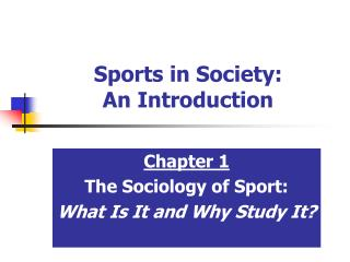 Sports in Society: An Introduction