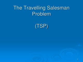 The Travelling Salesman Problem (TSP)