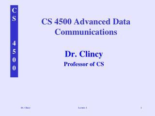CS 4500 Advanced Data Communications