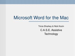 Microsoft Word for the Mac