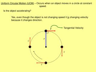 Uniform Circular Motion (UCM)  – Occurs when an object moves in a circle at constant 				speed.