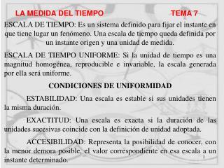 LA MEDIDA DEL TIEMPO                                TEMA 7