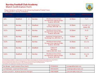 Burnley Football Club Academy Match Confirmation Form