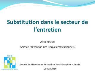 Substitution dans le secteur de l'entretien
