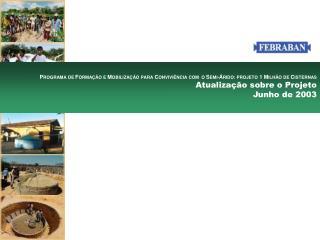 Estudo dos componentes do Projeto Cisternas e elaboração da análise de viabilidade em apoiá-lo.