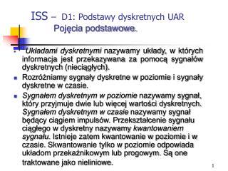 ISS  �  D1: Podstawy dyskretnych UAR Poj?cia podstawowe.