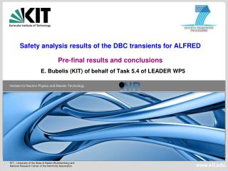 Safety analysis results of the DBC transients for ALFRED Pre-final results and conclusions