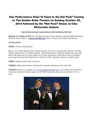 "One Performance Only! ""A Toast to the Rat Pack"""