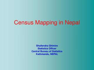 Census Mapping in Nepal