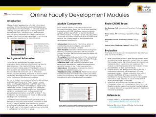 Online Faculty Development Modules