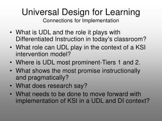Universal Design for Learning Connections for Implementation