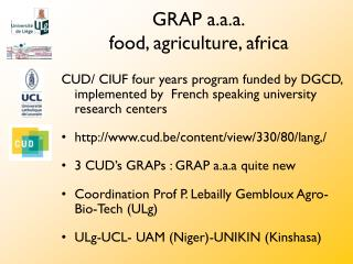 GRAP a.a.a. food, agriculture, africa