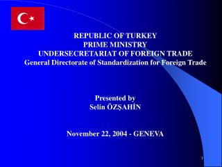 REPUBLIC OF TURKEY  PRIME MINISTRY UNDERSECRETARIAT  OF  FOREIGN TRADE
