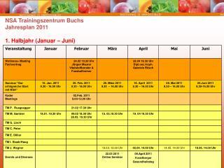 NSA Trainingszentrum Buchs Jahresplan 2011 1. Halbjahr (Januar – Juni)