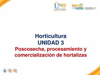Horticultura UNIDAD 3 Poscosecha, procesamiento y comercialización de hortalizas