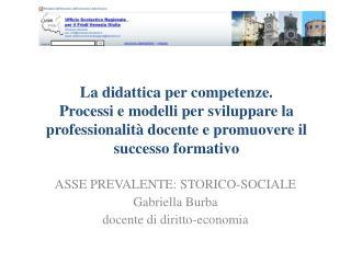 ASSE PREVALENTE: STORICO-SOCIALE Gabriella Burba docente di diritto-economia