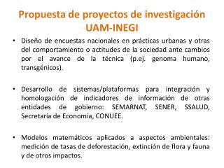 Propuesta de proyectos de investigación UAM-INEGI
