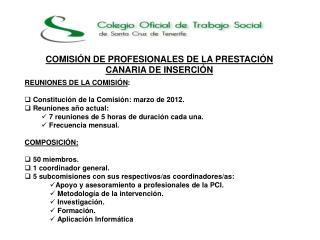 COMISI�N DE PROFESIONALES DE LA PRESTACI�N CANARIA DE INSERCI�N