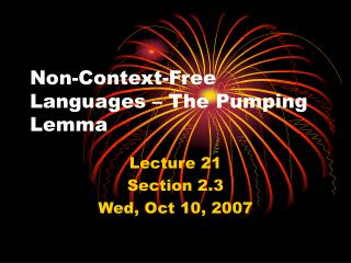 Non-Context-Free Languages – The Pumping Lemma
