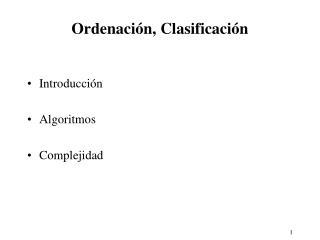 Ordenación, Clasificación