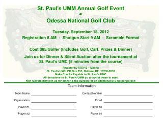 St. Paul�s UMM Annual Golf Event At Odessa National Golf Club Tuesday, September 18, 2012