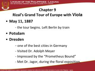 Chapter 9  Rizal's Grand Tour of Europe with  Viola