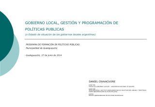 PROGRAMA DE FORMACIÓN EN POLÍTICAS PÚBLICAS Municipalidad de  Gualeguaychú