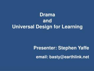 Drama  and  Universal Design for Learning
