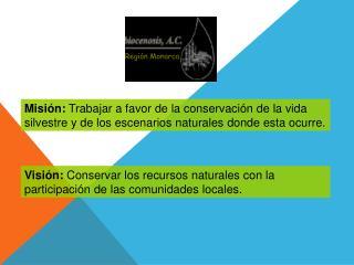 Visi�n:  Conservar los recursos naturales con la participaci�n de las comunidades locales.