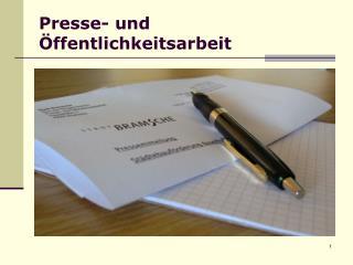 Presse- und �ffentlichkeitsarbeit