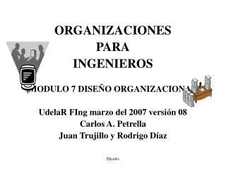 ORGANIZACIONES  PARA INGENIEROS MODULO 7 DISEÑO ORGANIZACIONAL