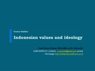 Course Outline Indonesian values and ideology