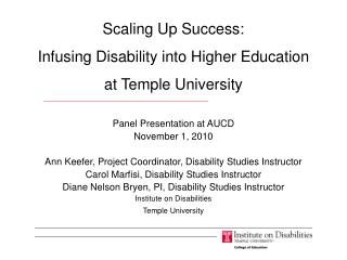 Scaling Up Success: Infusing Disability into Higher Education at Temple University