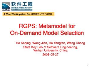 RGPS: Metamodel for        On-Demand Model Selection