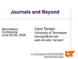 Journals and Beyond