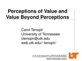 Perceptions of Value and Value Beyond Perceptions