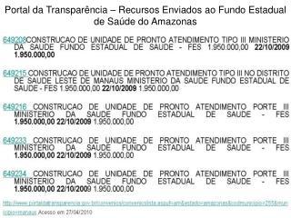 Portal da Transparência – Recursos Enviados ao Fundo Estadual de Saúde do Amazonas