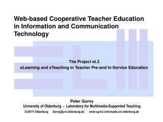 Web-based Cooperative Teacher Education in Information and Communication Technology
