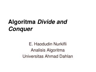 Algoritma Divide and Conquer