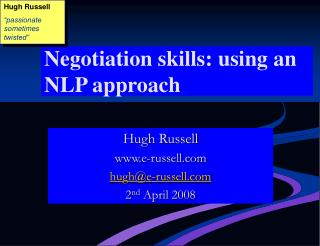 Negotiation skills: using an NLP approach