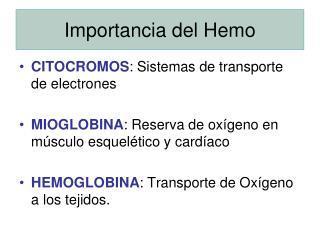 Importancia del Hemo
